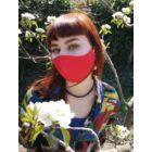 Mosható, piros textil szájmaszk, állítható gumipánttal