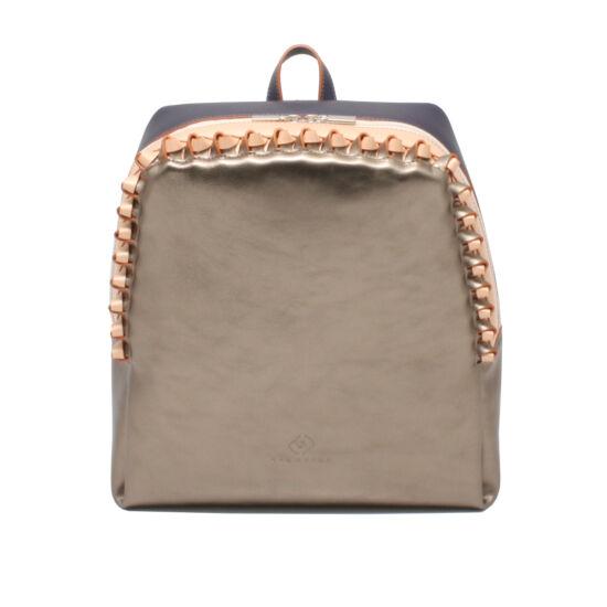 Női bronz barack metálkék bőr hátizsák