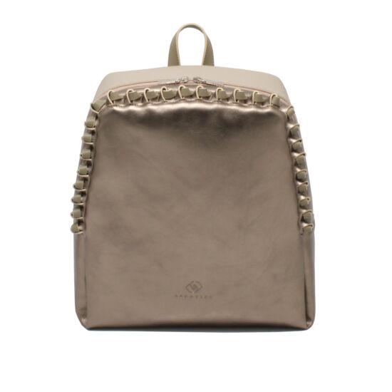 Női bronz - bézs - khaki bőr hátizsák