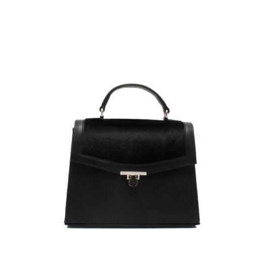 fekete női szőrme táska
