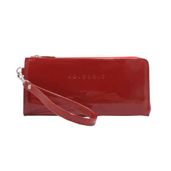 női piros lakk bőr pénztárca