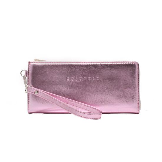 Rózsaszín bőrpénztárca