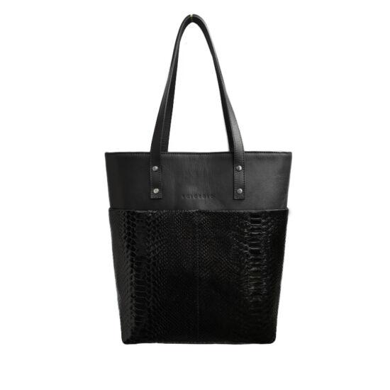 Fekete phyton női shopper táska